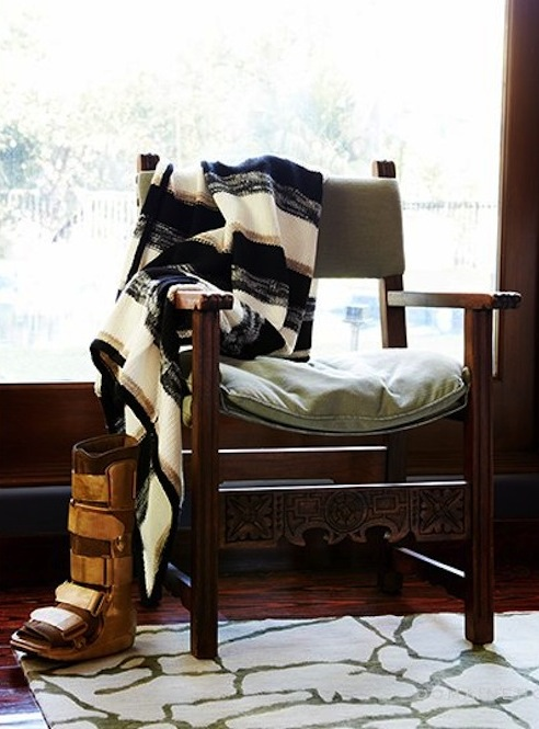 Jessica Alba_Stone Textile Wool Stripe Throw