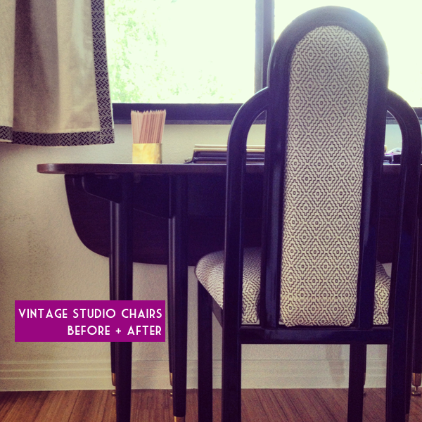 Around The Studio:  Vintage chairs all done up…