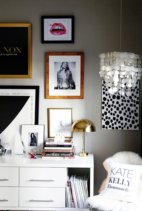 small-shop-for-Adore-Home-by-Sabra-Lattos-office-gallery-wall-modern-femme-Kate-Moss-black-white-brass-lamps-console-capiz-lamp-three-muses-pillow